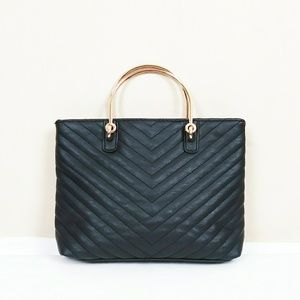 Black Quilted Faux Leather Chain Strap Mini Purse